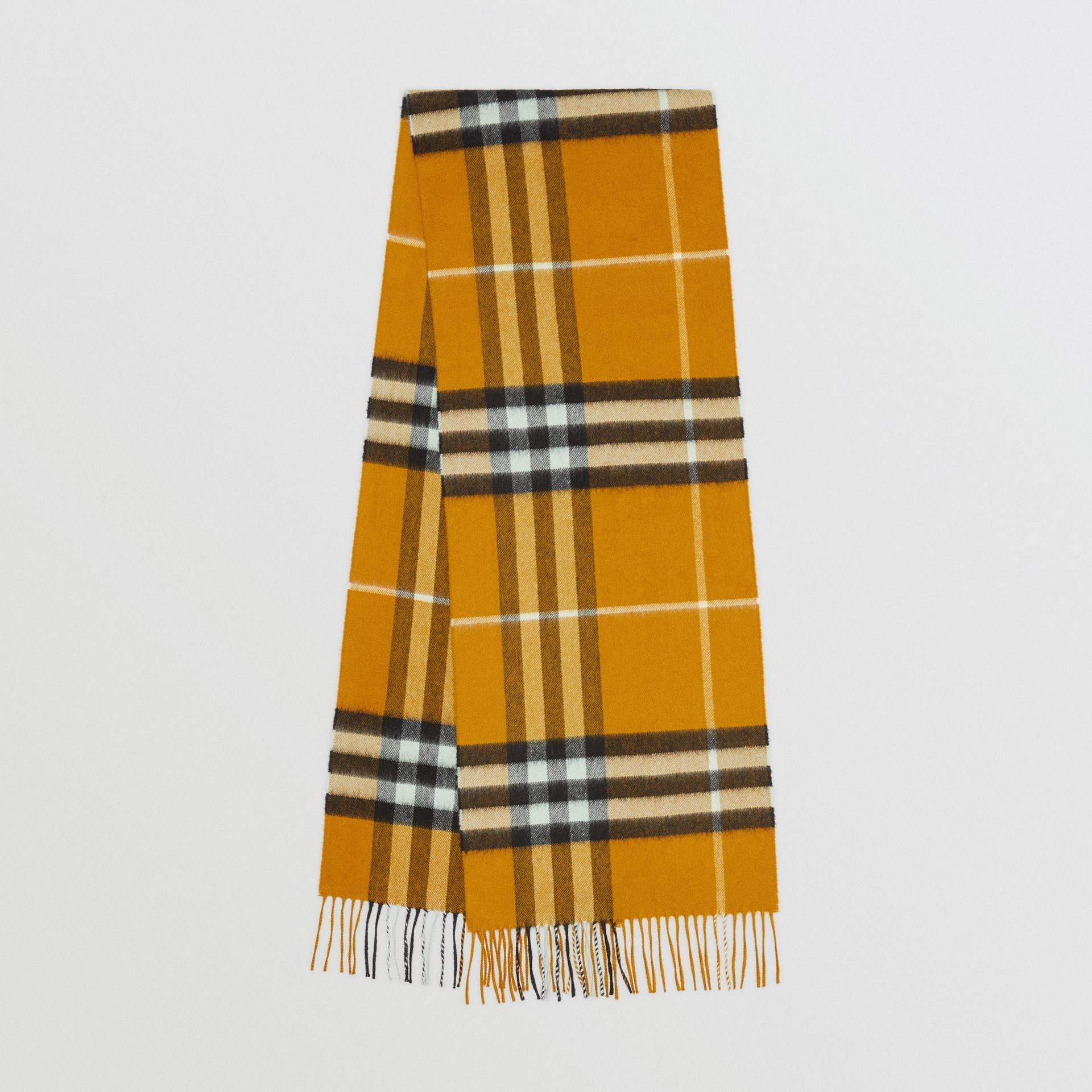 The Classic Check Cashmere Scarf in Umber Yellow | Burberry - gallery image 0