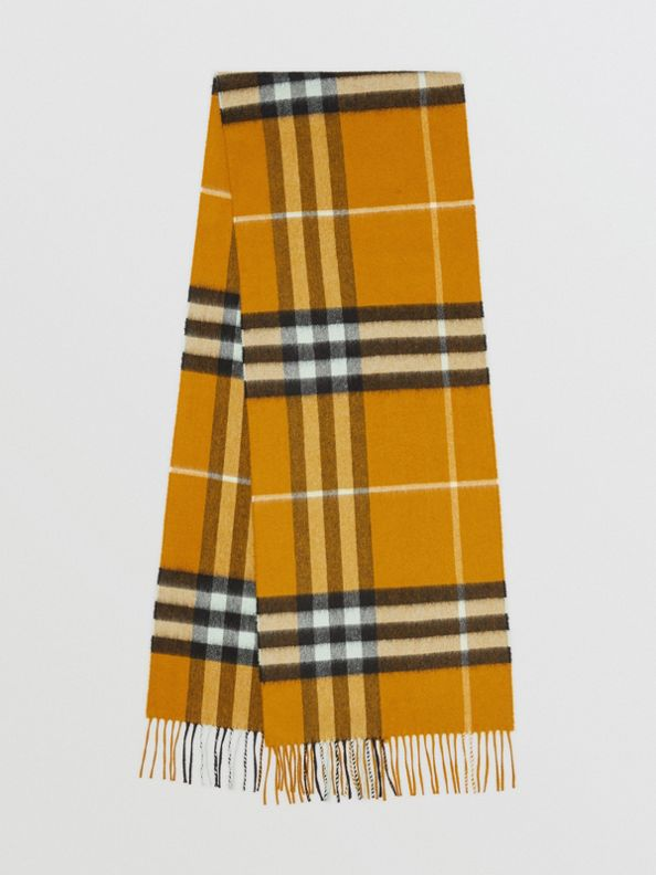 The Classic Check Cashmere Scarf in Umber Yellow