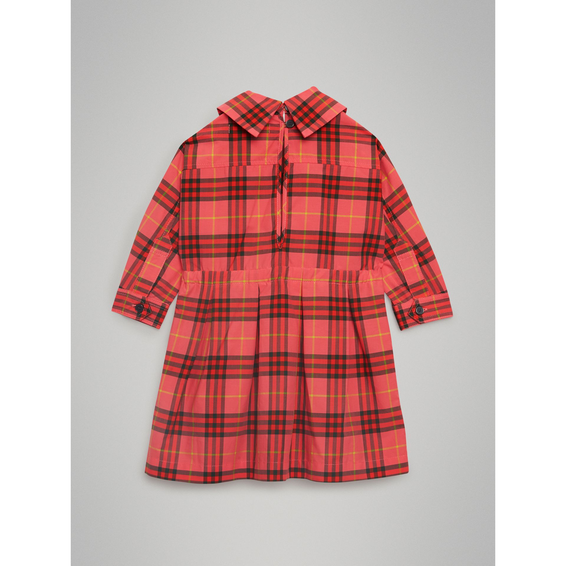 Check Cotton Drawcord Dress in Coral Red - Children | Burberry - gallery image 3