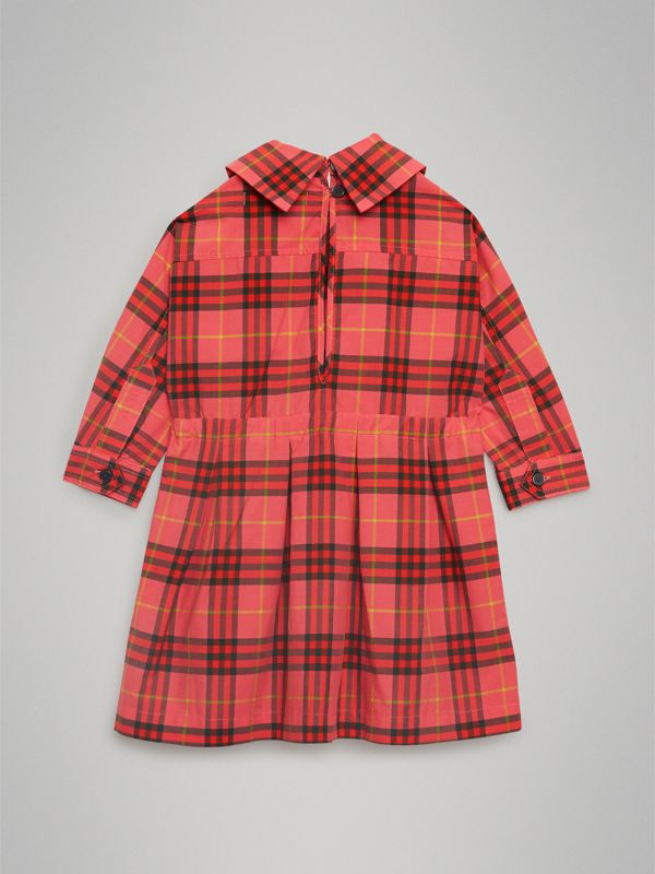 Check Cotton Drawcord Dress in Coral Red - Children | Burberry - cell image 3