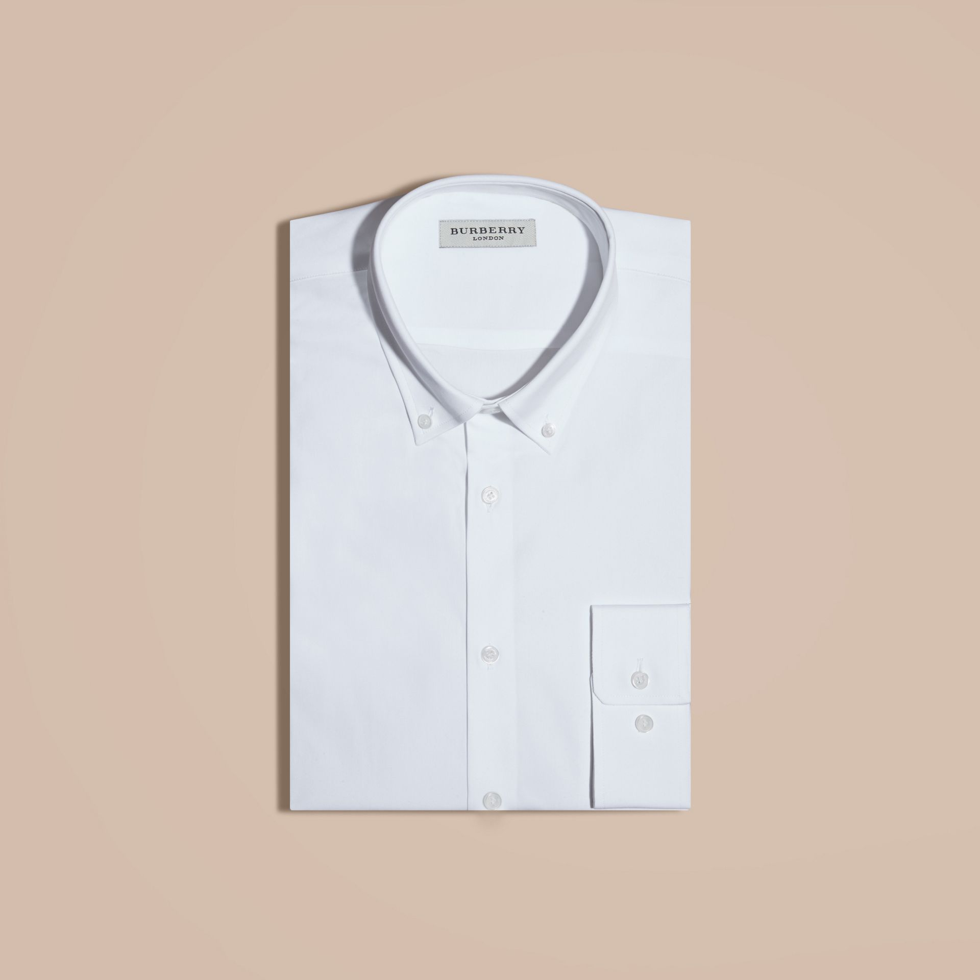 White Modern Fit Button-down Collar Stretch Cotton Shirt White - gallery image 4
