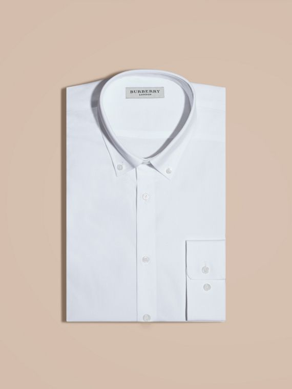 White Modern Fit Button-down Collar Stretch Cotton Shirt White - cell image 3