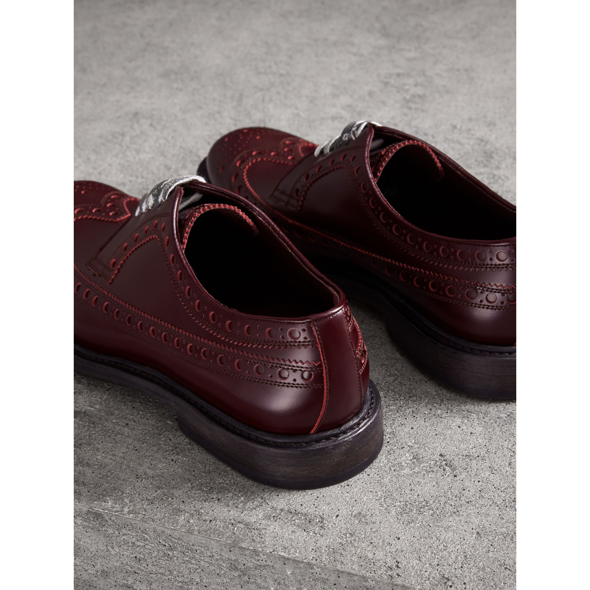 Leather Brogues with Painted Laces in Ebony Red - Men | Burberry Singapore - gallery image 3