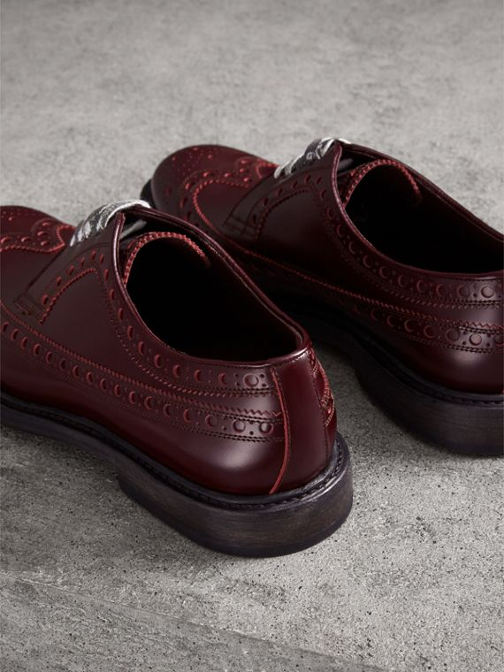 Leather Brogues with Painted Laces in Ebony Red - Men | Burberry Singapore - cell image 3