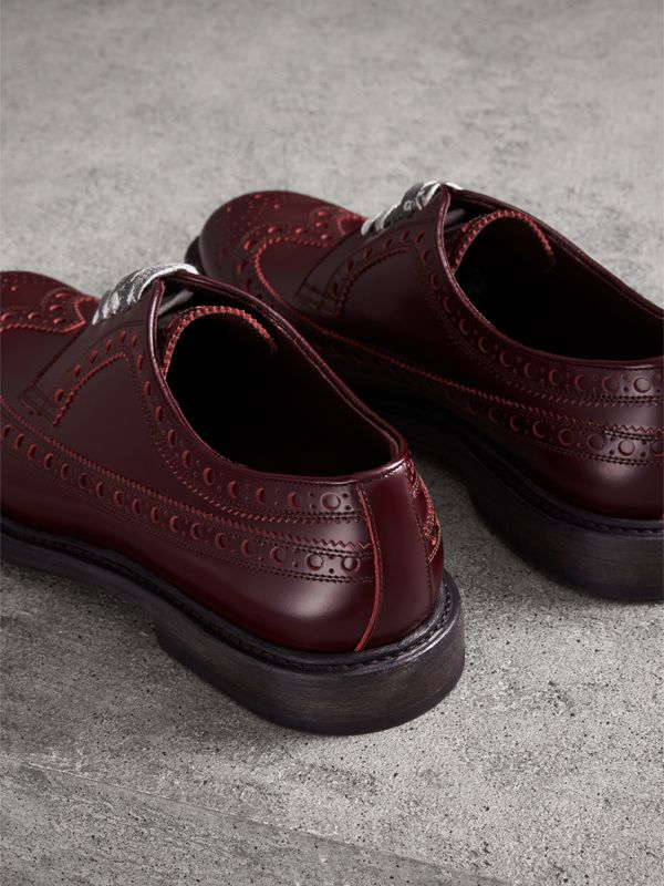 Leather Brogues with Painted Laces in Ebony Red - Men | Burberry - cell image 3