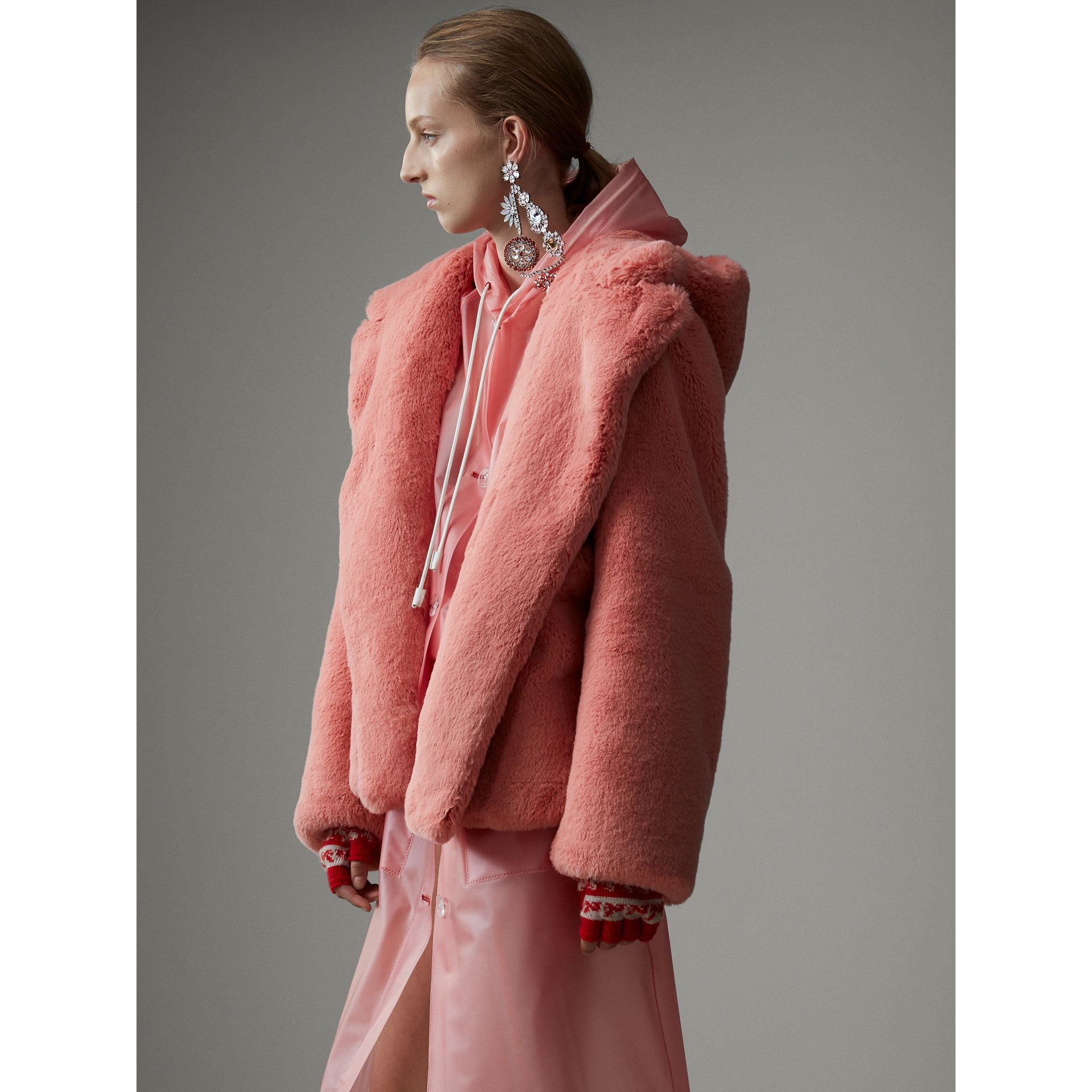 Faux Fur Hooded Jacket in Pale Pink - Women | Burberry - gallery image 6