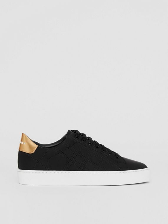 Perforated Check Leather Sneakers in Black