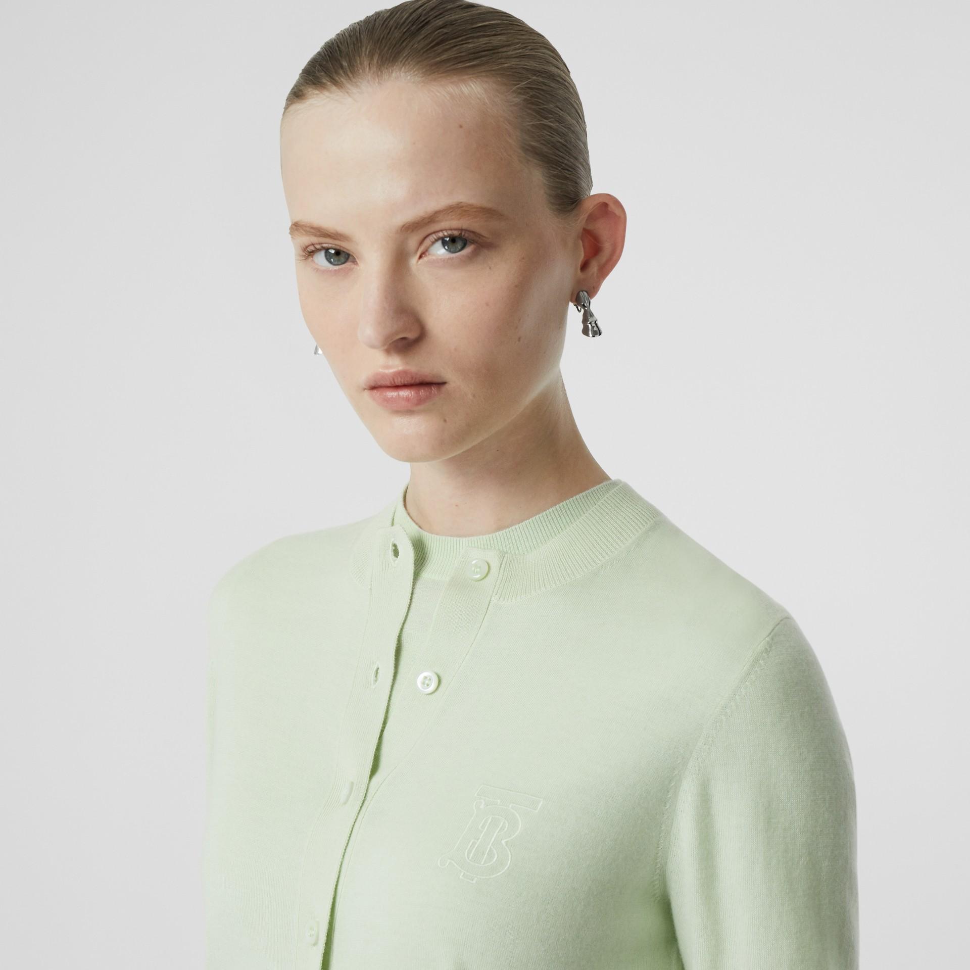 Кардиган из кашемира с монограммой Burberry (Фисташковый) - Для женщин | Burberry - изображение 1