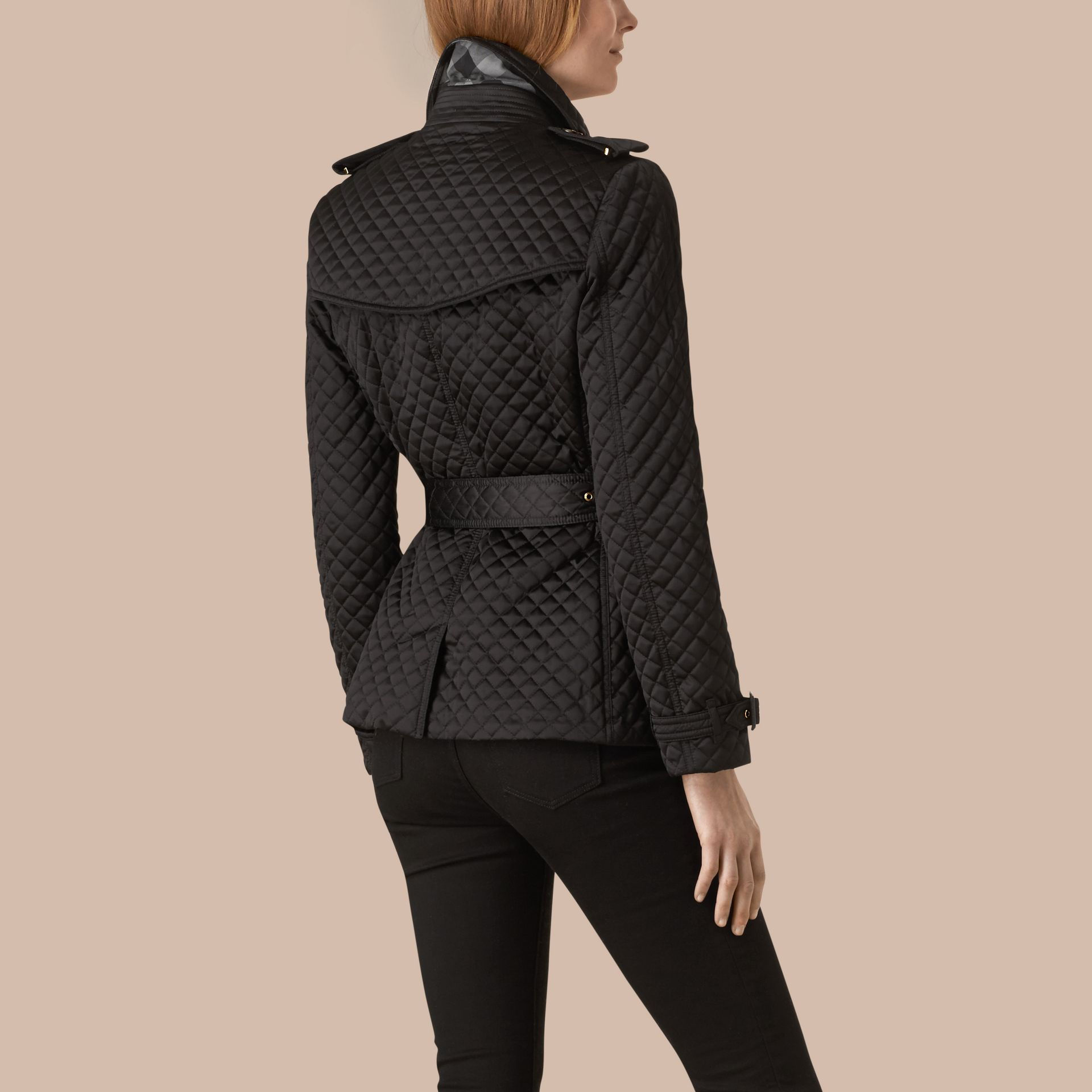 Black Diamond Quilted Trench Jacket - gallery image 2