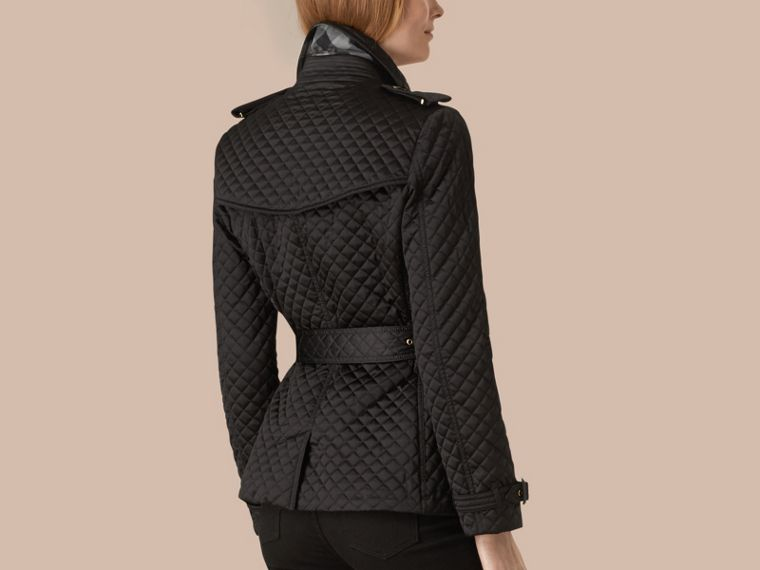 Black Diamond Quilted Trench Jacket - cell image 1