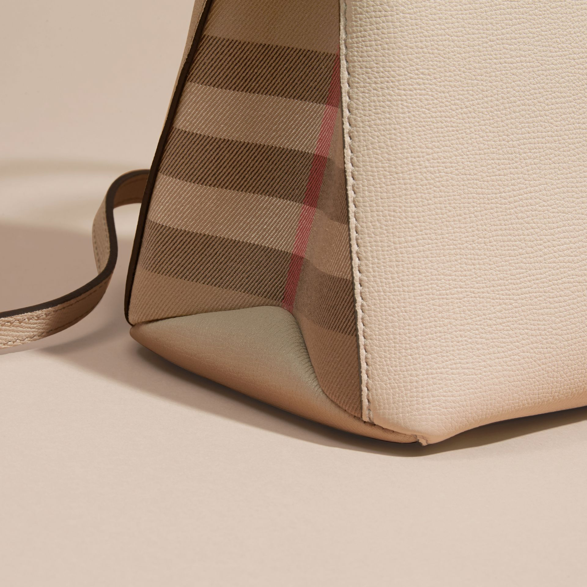 The Medium Banner in Leather and House Check in Limestone - Women | Burberry Canada - gallery image 6