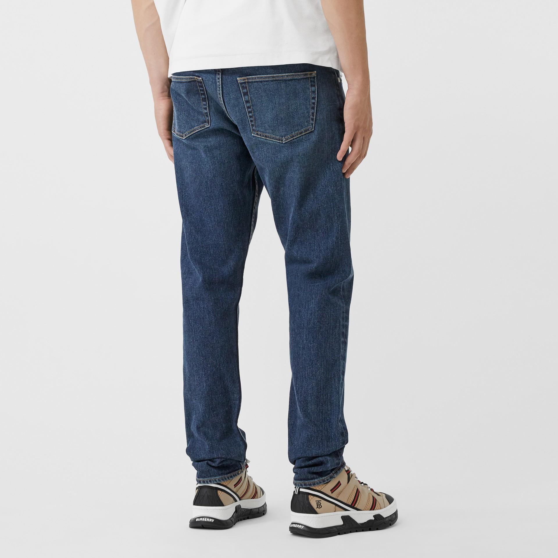 Slim Fit Washed Denim Jeans in Dark Indigo - Men   Burberry - gallery image 4