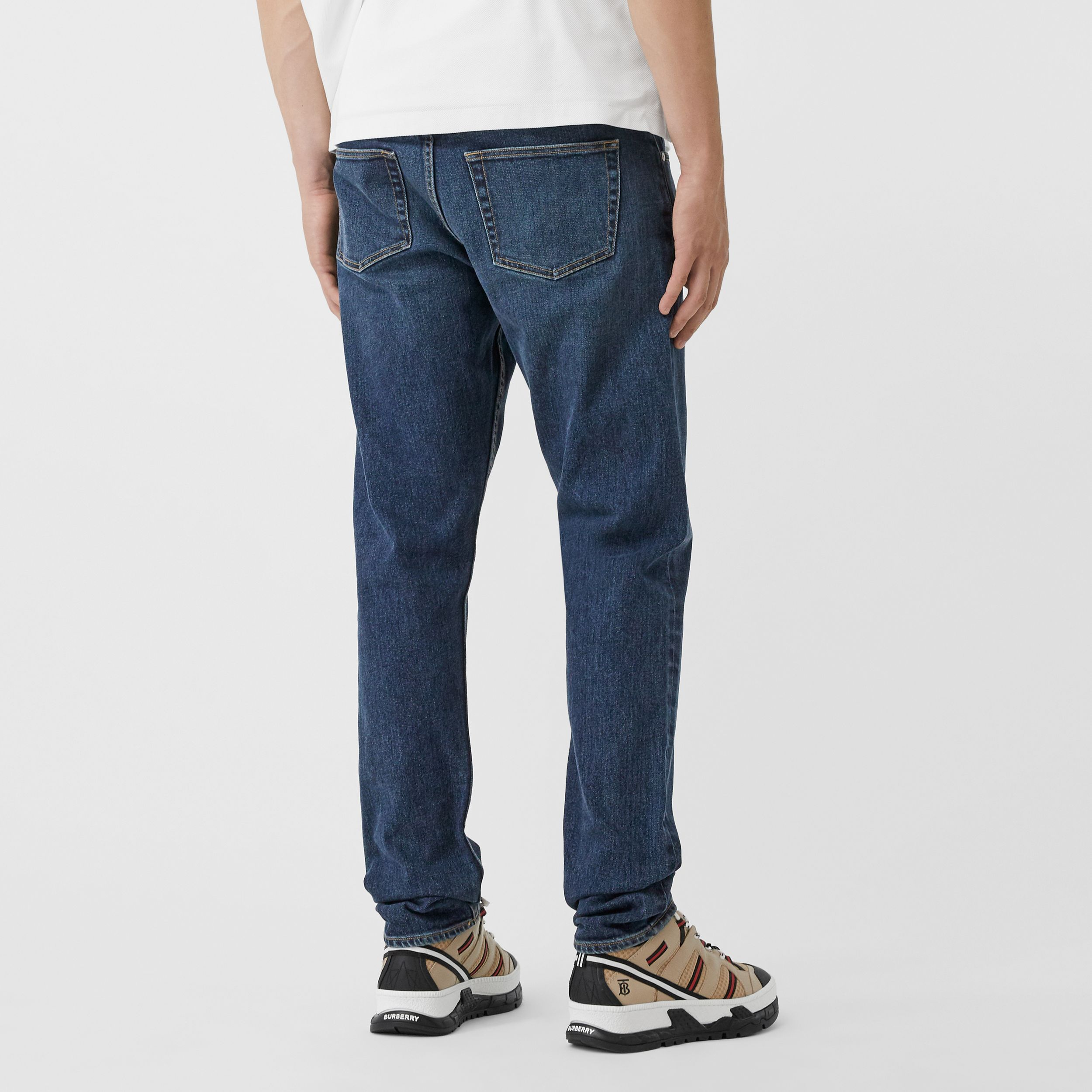 Slim Fit Washed Denim Jeans in Dark Indigo - Men | Burberry - 4