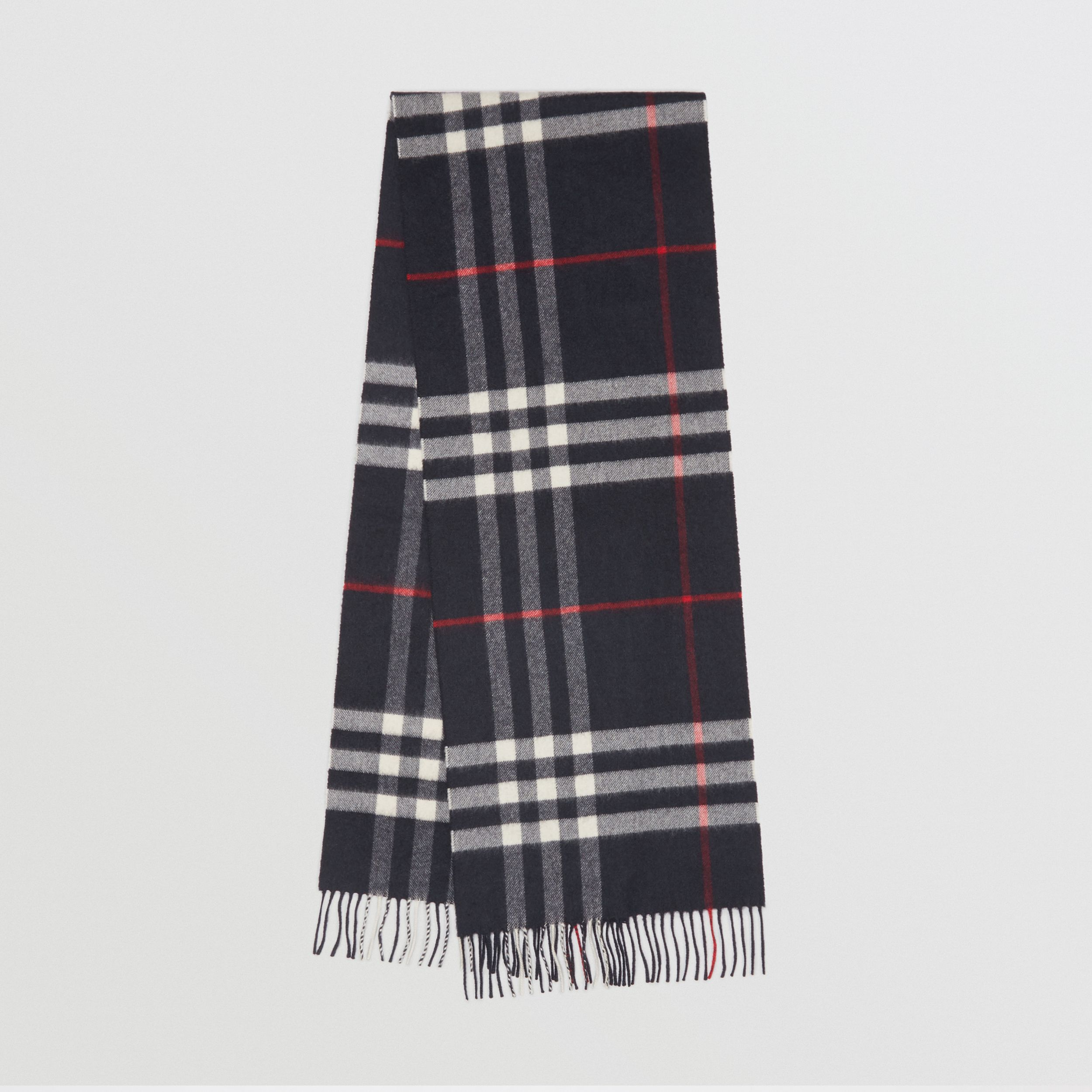 The Classic Check Cashmere Scarf in Navy | Burberry - 1