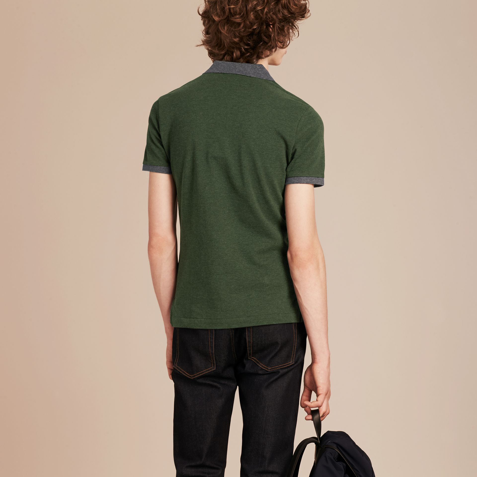 Racing green melange Contrast Colour Detail Cotton Piqué Polo Shirt Racing Green Melange - gallery image 3