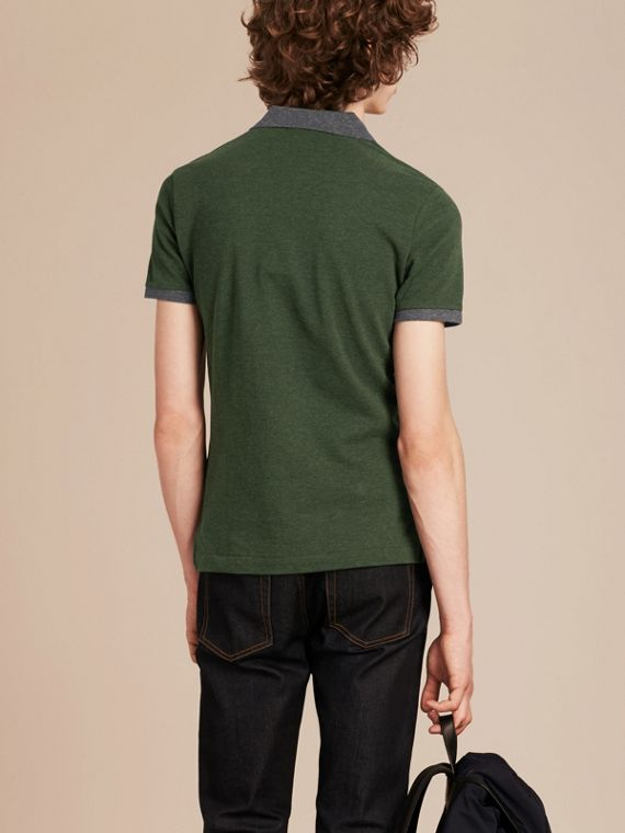 Racing green melange Contrast Colour Detail Cotton Piqué Polo Shirt Racing Green Melange - cell image 2