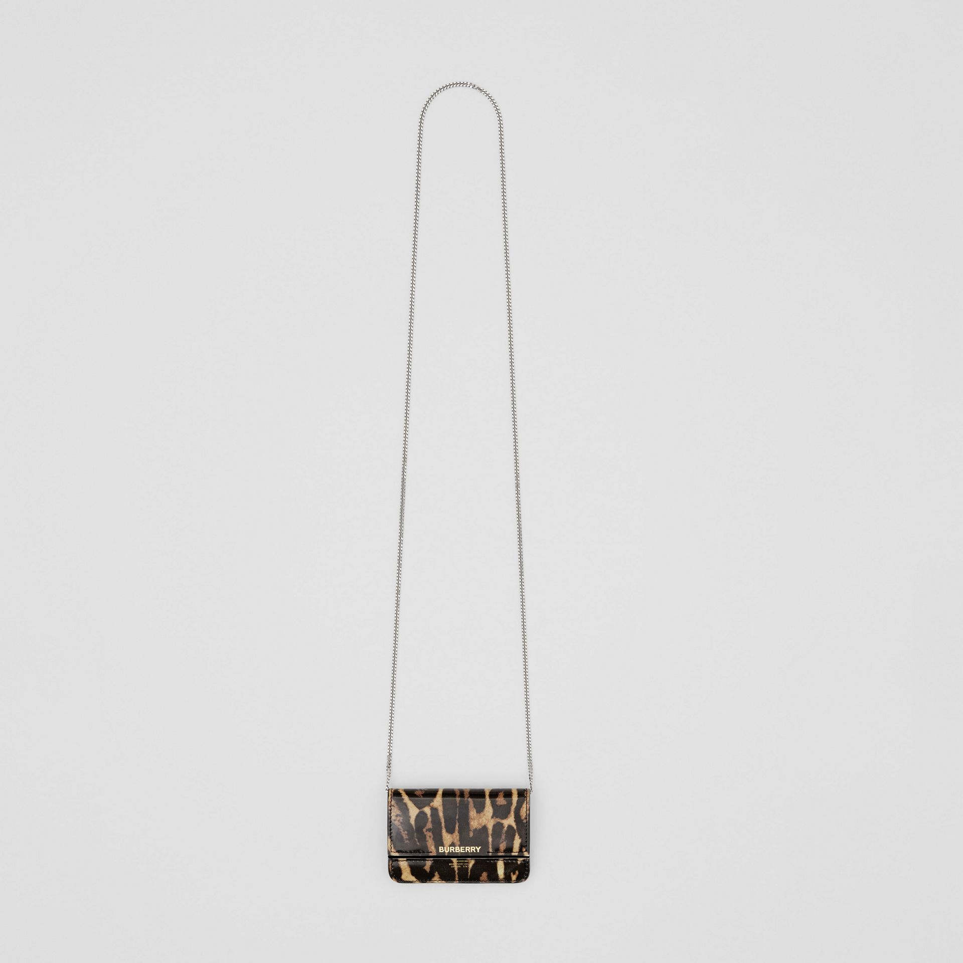 Leopard Print Leather Card Case with Chain Strap in Dark Mustard - Women | Burberry United States - gallery image 3