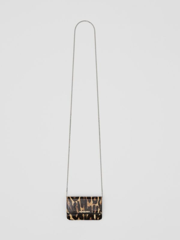 Leopard Print Leather Card Case with Chain Strap in Dark Mustard - Women | Burberry United States - cell image 3