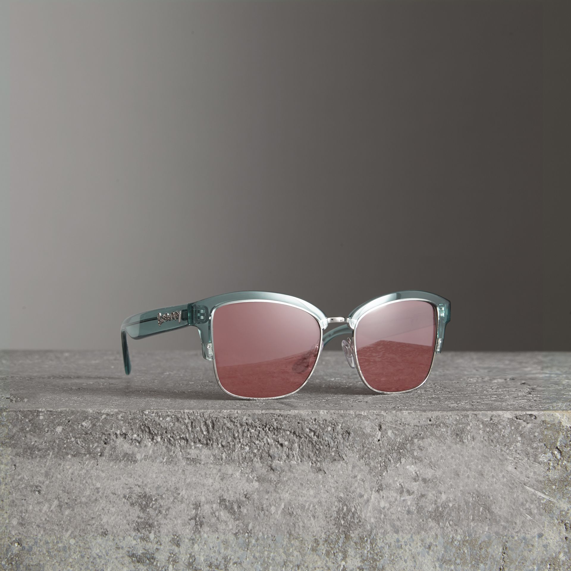 Doodle Square Frame Sunglasses in Blue - Women | Burberry United Kingdom - gallery image 0