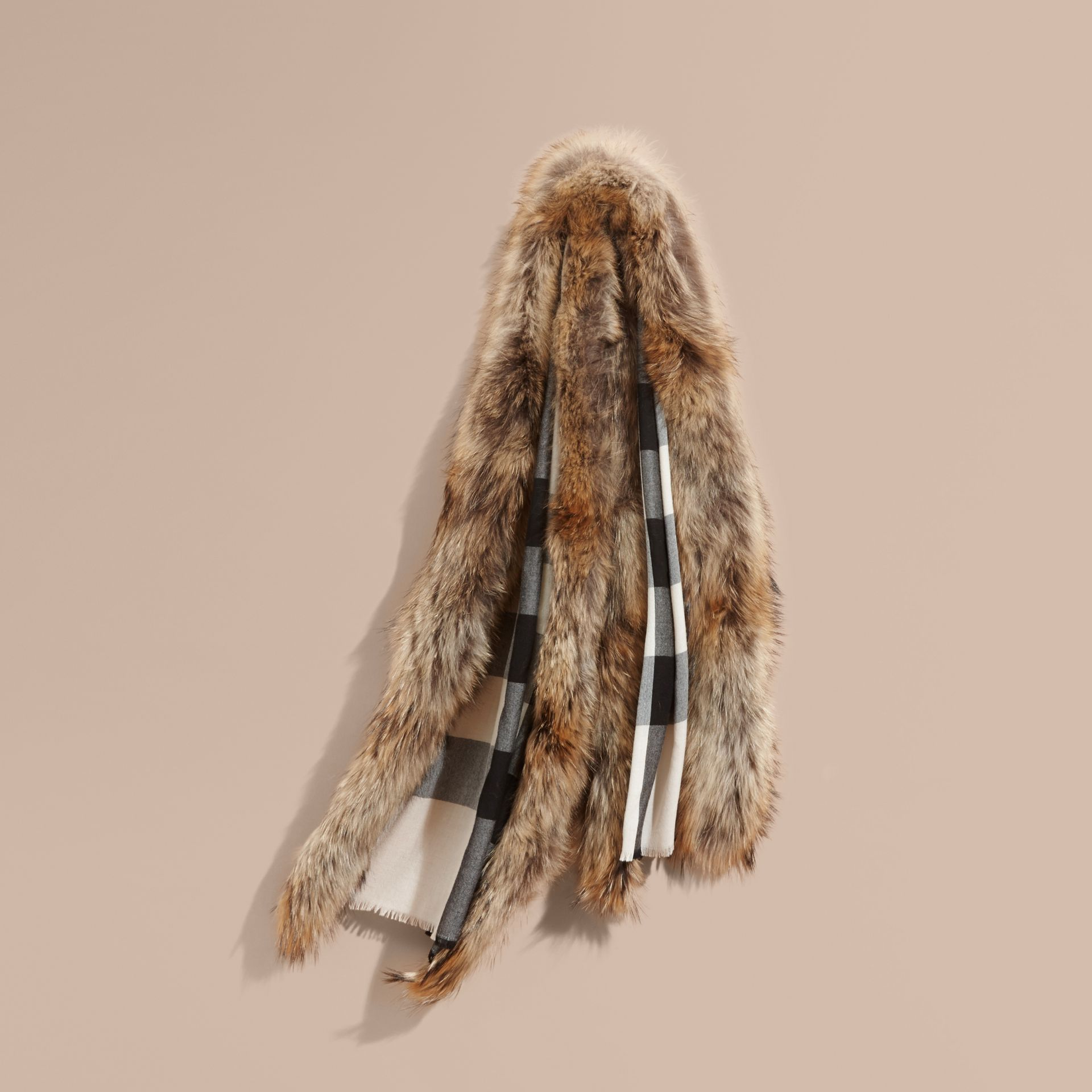 Raccoon Trim Check Wool Cashmere Scarf in Stone - gallery image 1