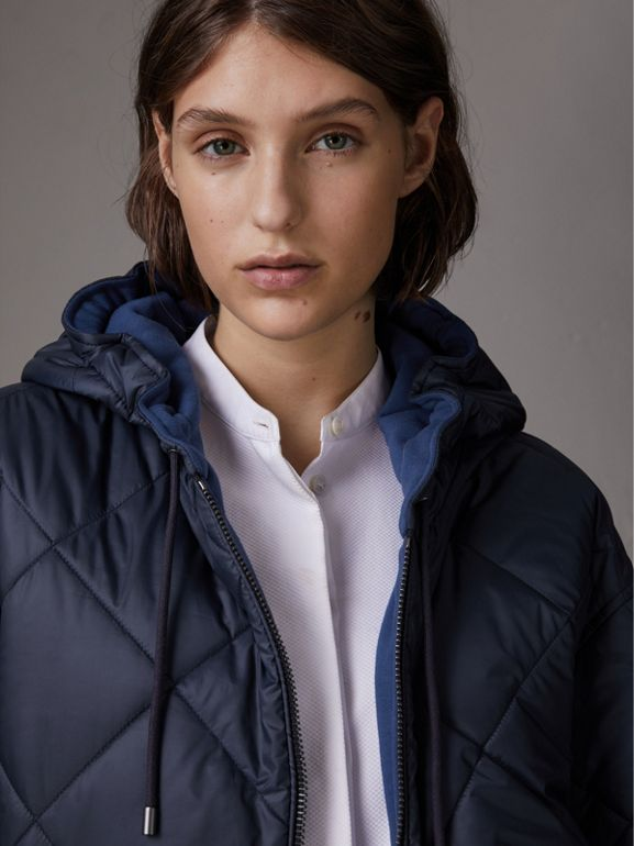 Reversible Diamond Quilted Hooded Jacket in Navy - Women | Burberry - cell image 1