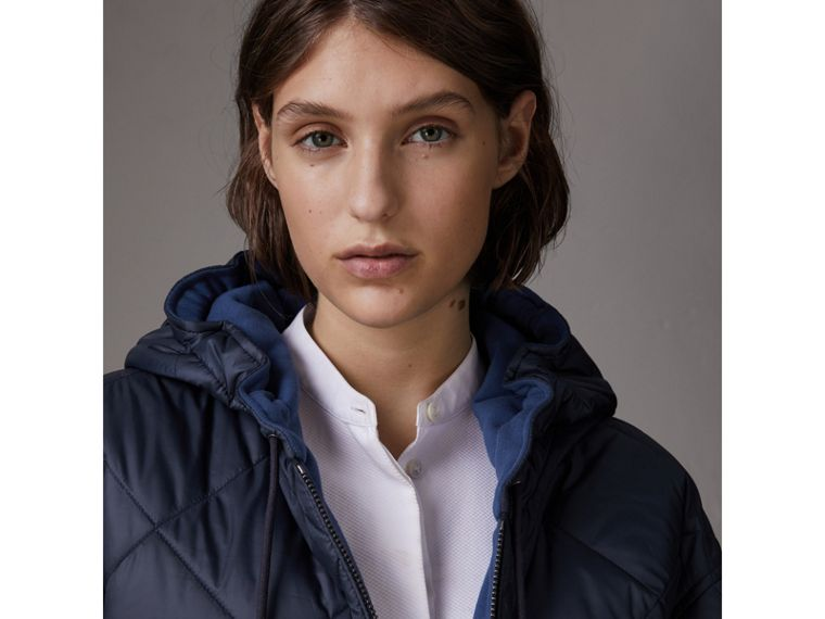 Reversible Diamond Quilted Hooded Jacket in Navy - Women | Burberry United States - cell image 1