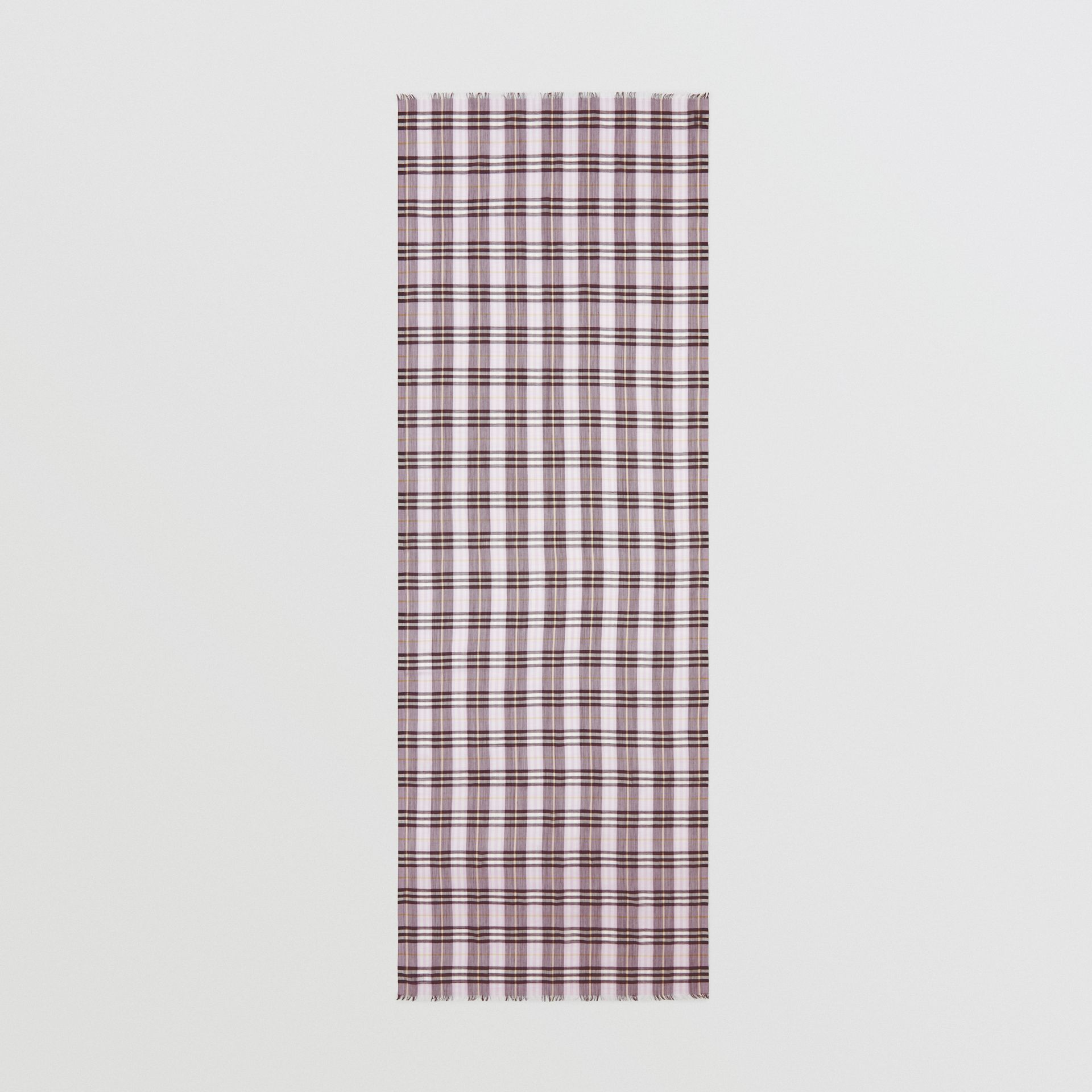 Vintage Check Lightweight Wool Silk Scarf in Lavender | Burberry United Kingdom - gallery image 4