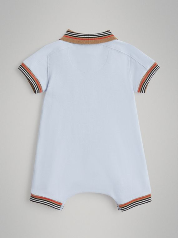 Heritage Stripe Cotton Piqué Two-piece Baby Gift Set in Ice Blue | Burberry United Kingdom - cell image 3