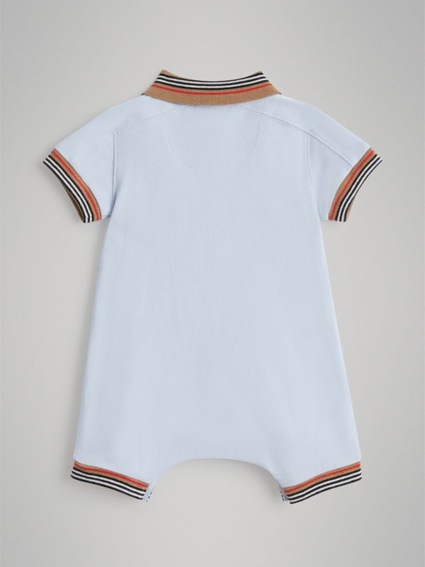 Heritage Stripe Cotton Piqué Two-piece Baby Gift Set in Ice Blue - Children | Burberry - cell image 3