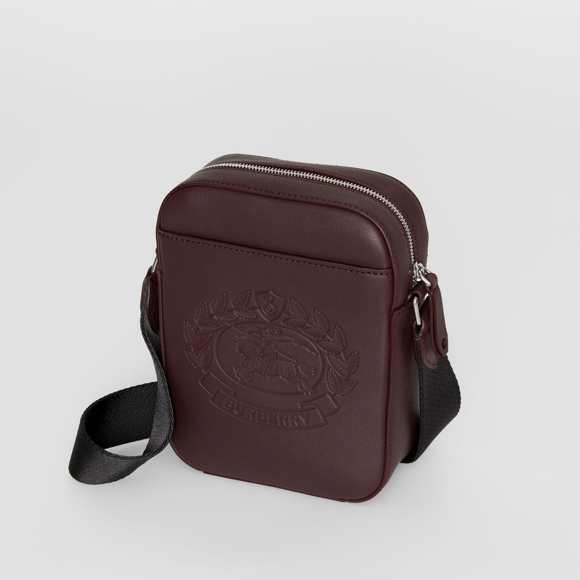 Small Embossed Crest Leather Crossbody Bag in Oxblood - Men | Burberry Australia - gallery image 4
