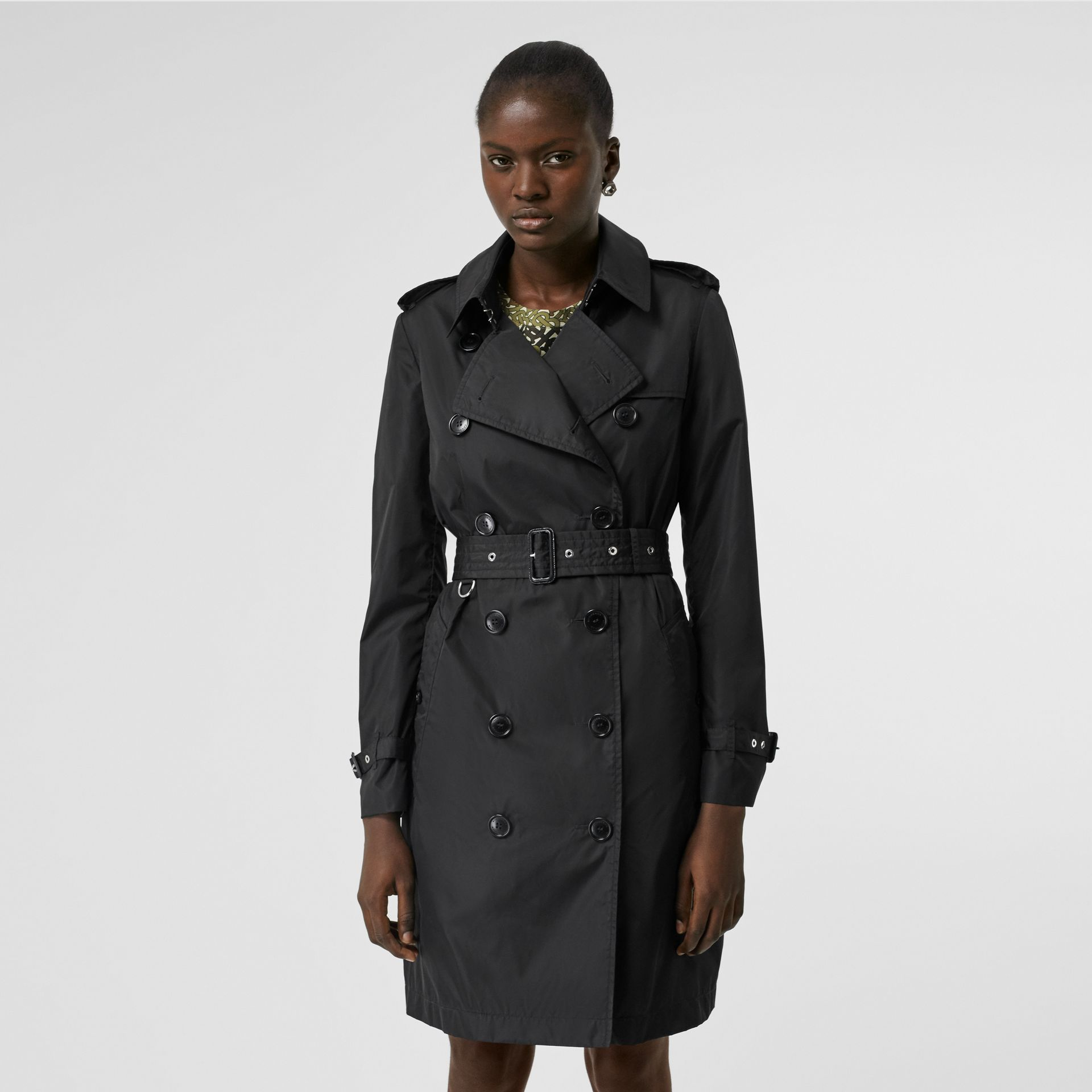 Detachable Hood ECONYL® Trench Coat in Black - Women | Burberry - gallery image 6