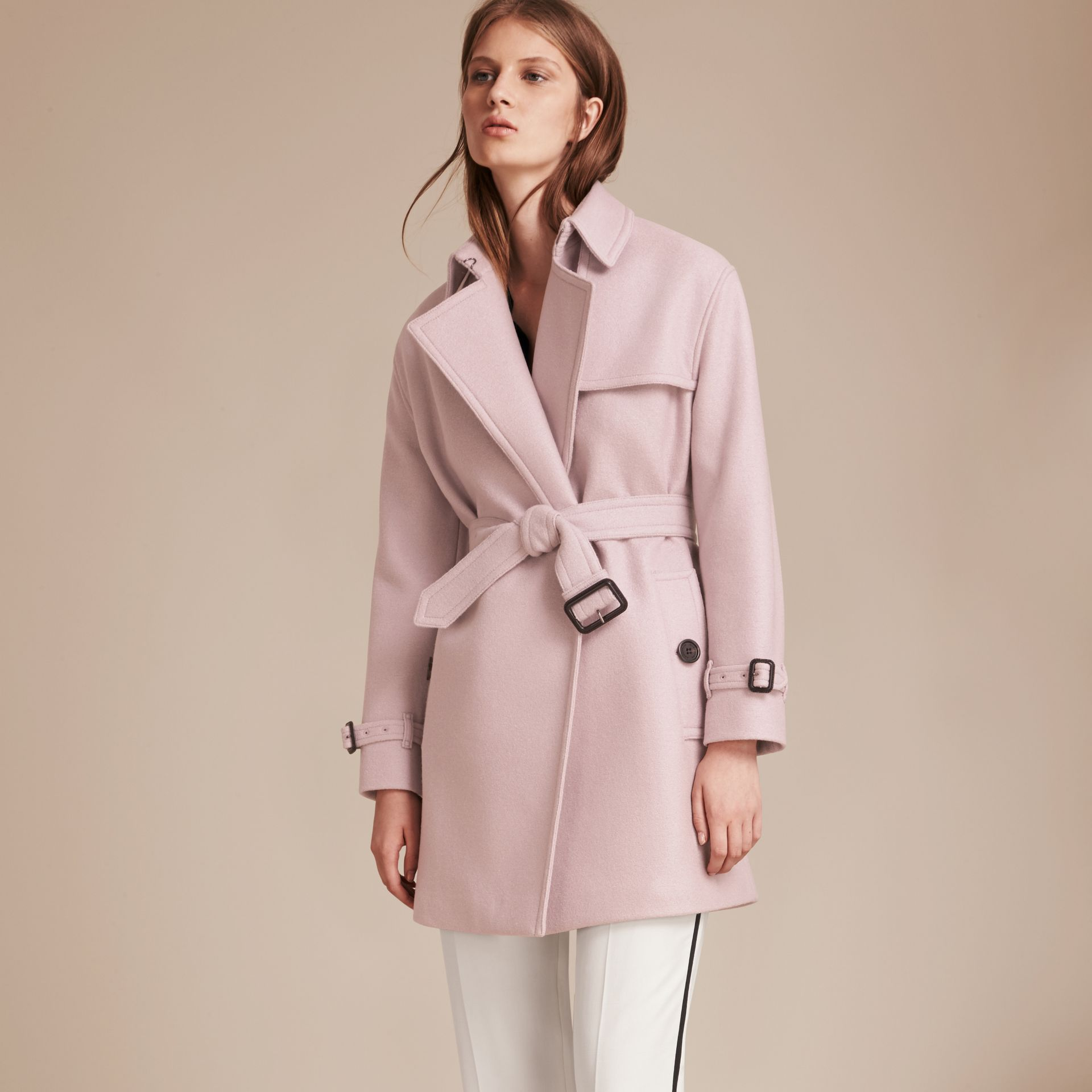 Pale orchid Wool Wrap Trench Coat - gallery image 6