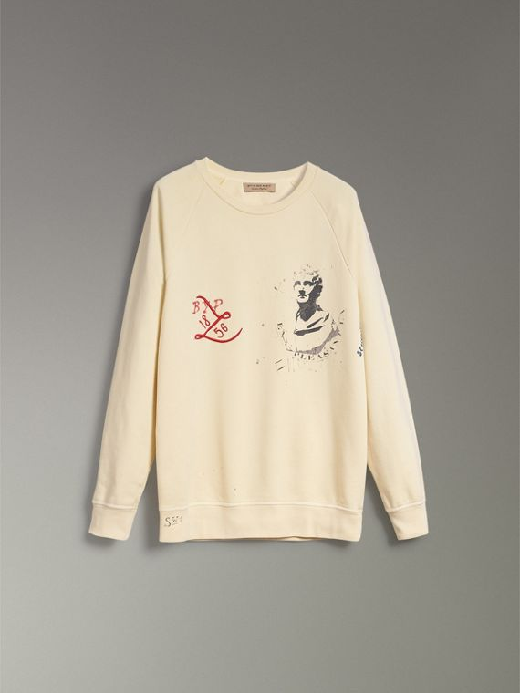 Portrait and Logo Print Cotton Sweatshirt in Pale Yellow - Men | Burberry - cell image 3