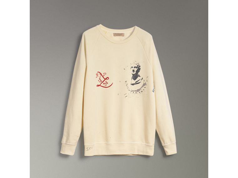 Portrait and Logo Print Cotton Sweatshirt in Pale Yellow - Men | Burberry United Kingdom - cell image 1