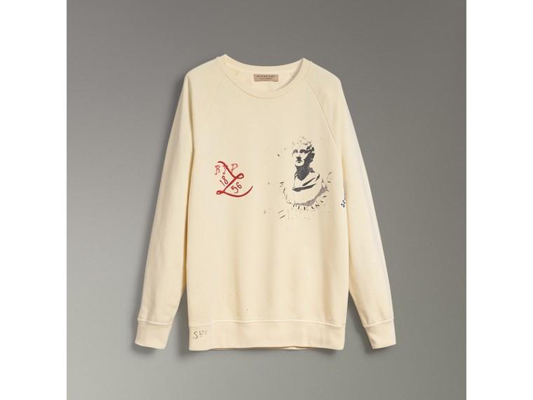 Sweat-shirt en coton avec portrait et logo imprimé (Jaune Pâle) - Homme | Burberry - cell image 1