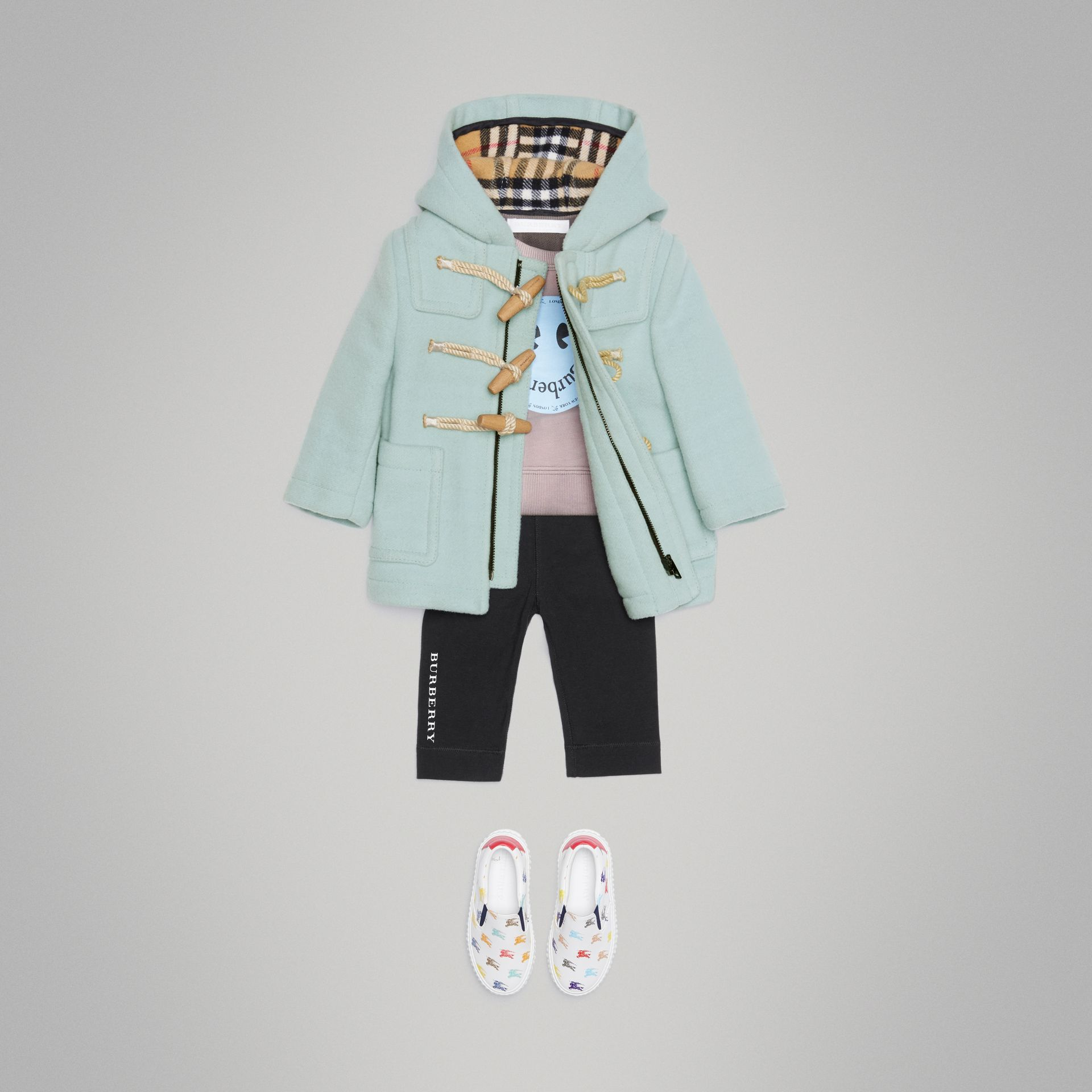 Boiled Wool Duffle Coat in Pale Mint - Children | Burberry Singapore - gallery image 2