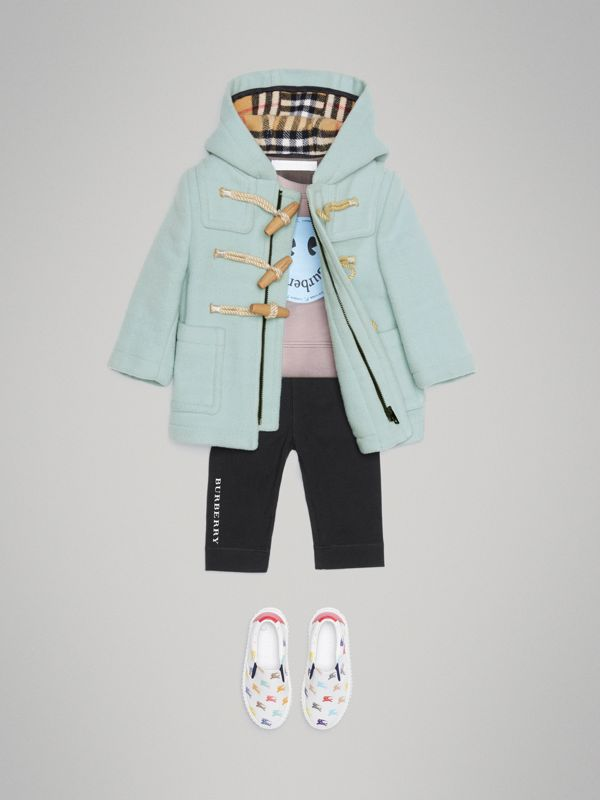Boiled Wool Duffle Coat in Pale Mint - Children | Burberry Singapore - cell image 2