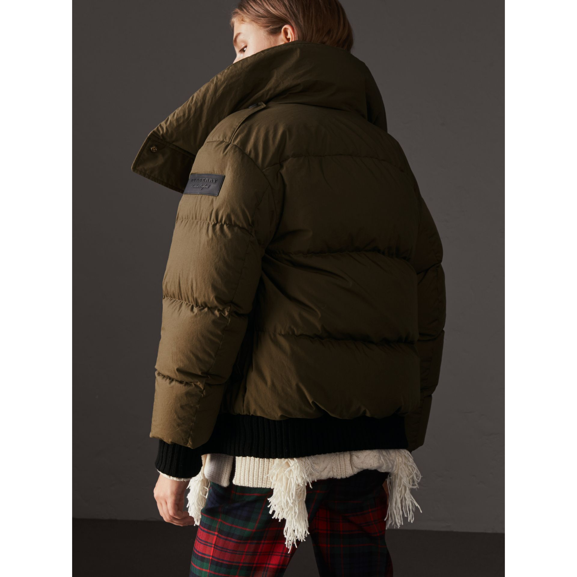 Oversized Rib Knit Collar Down-filled Bomber Jacket in Olive Green - Women | Burberry - gallery image 3