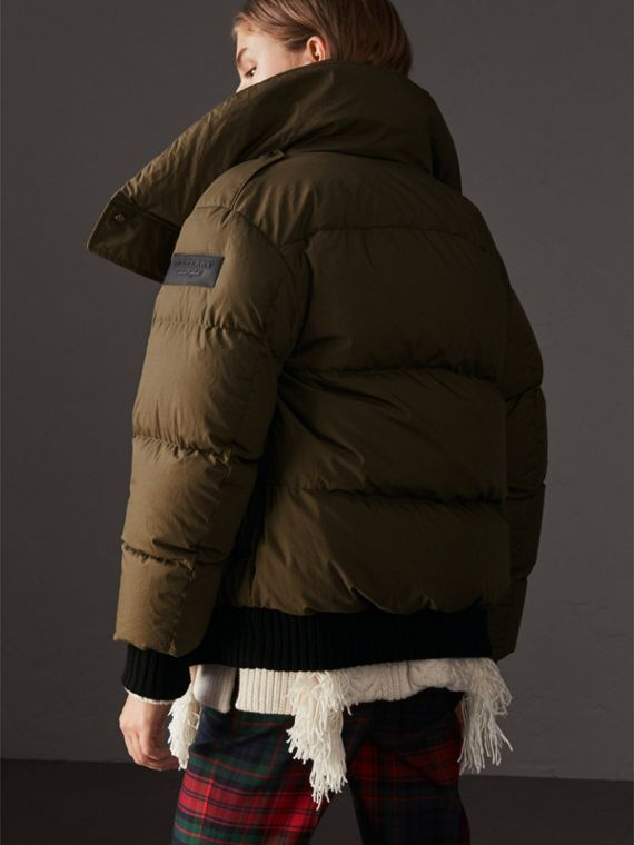 Oversized Rib Knit Collar Down-filled Bomber Jacket in Olive Green - Women | Burberry - cell image 2