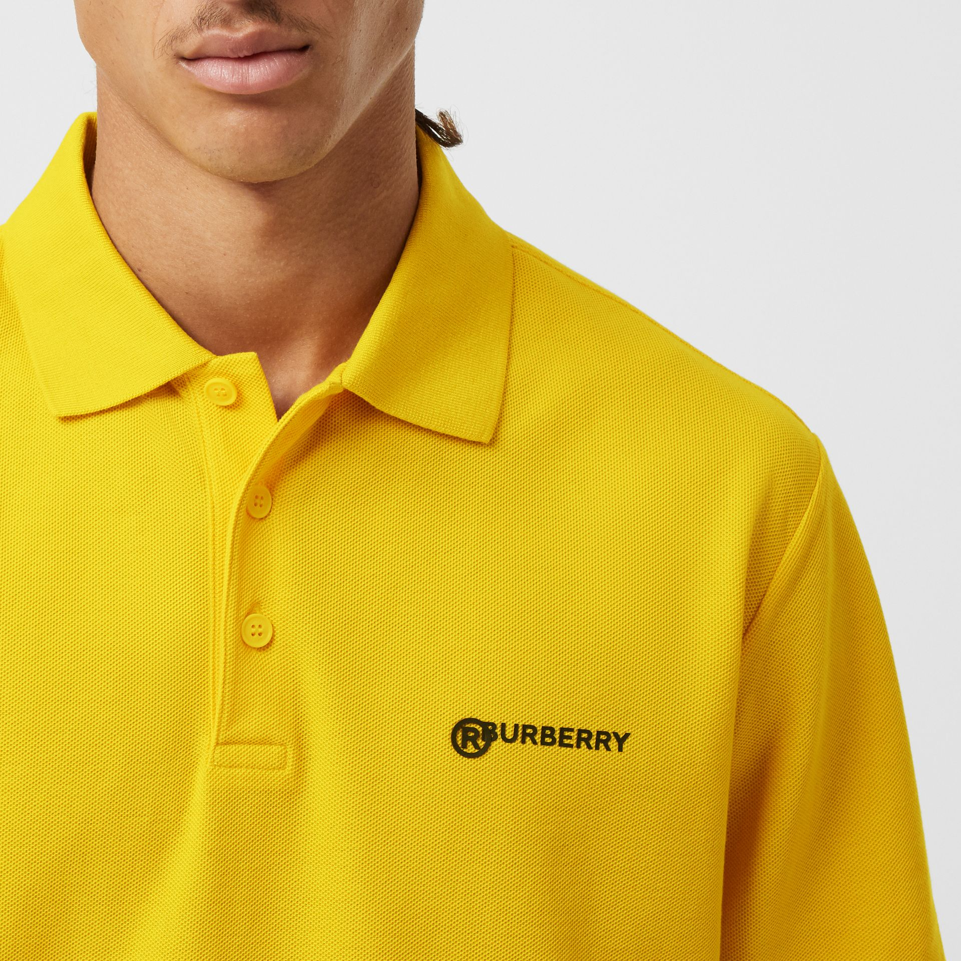 Location Print Cotton Piqué Oversized Polo Shirt in Canary Yellow - Men | Burberry - gallery image 4