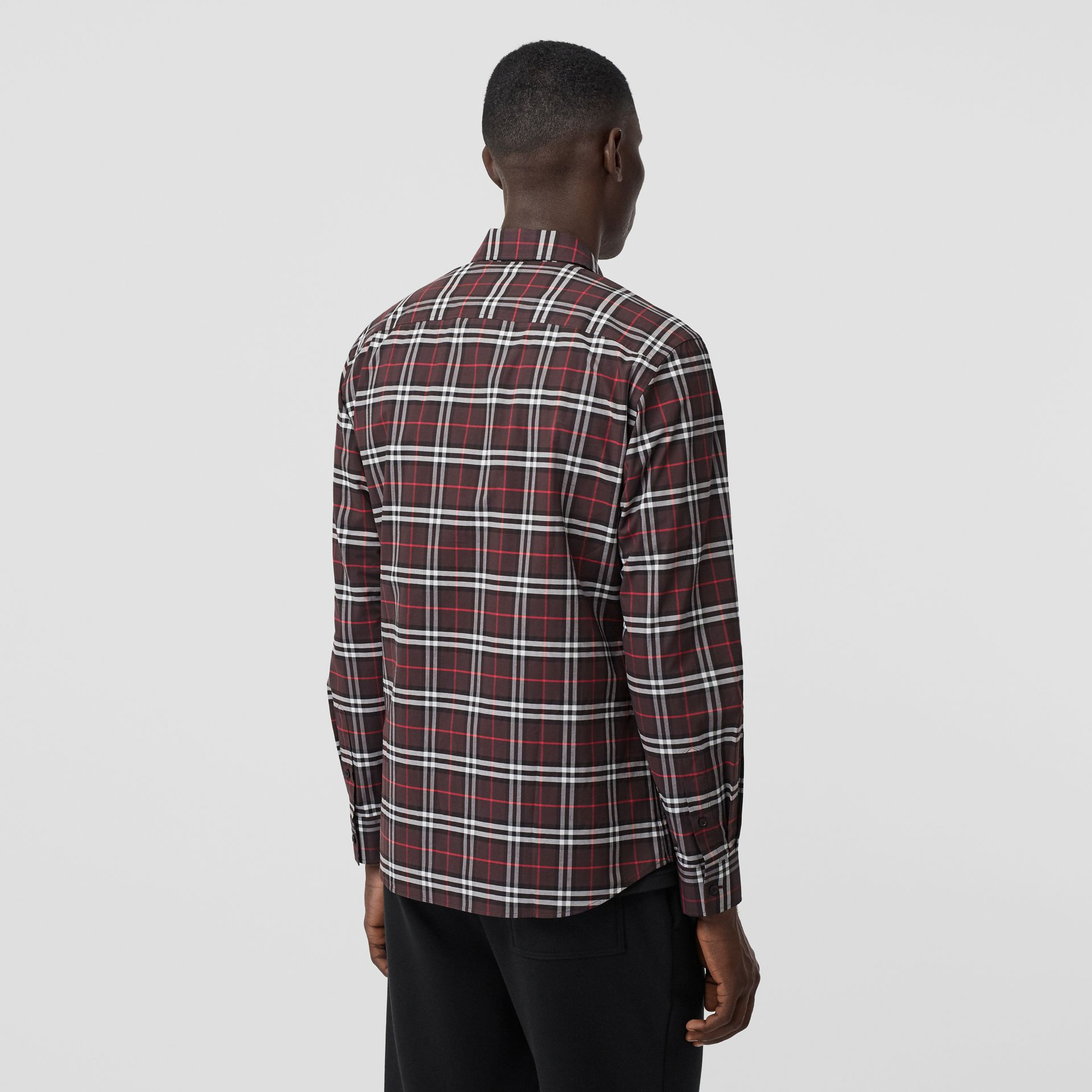 Small Scale Check Stretch Cotton Shirt in Bark - Men | Burberry - gallery image 2