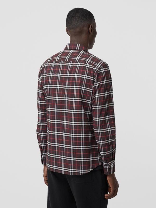 Small Scale Check Stretch Cotton Shirt in Bark - Men | Burberry - cell image 2