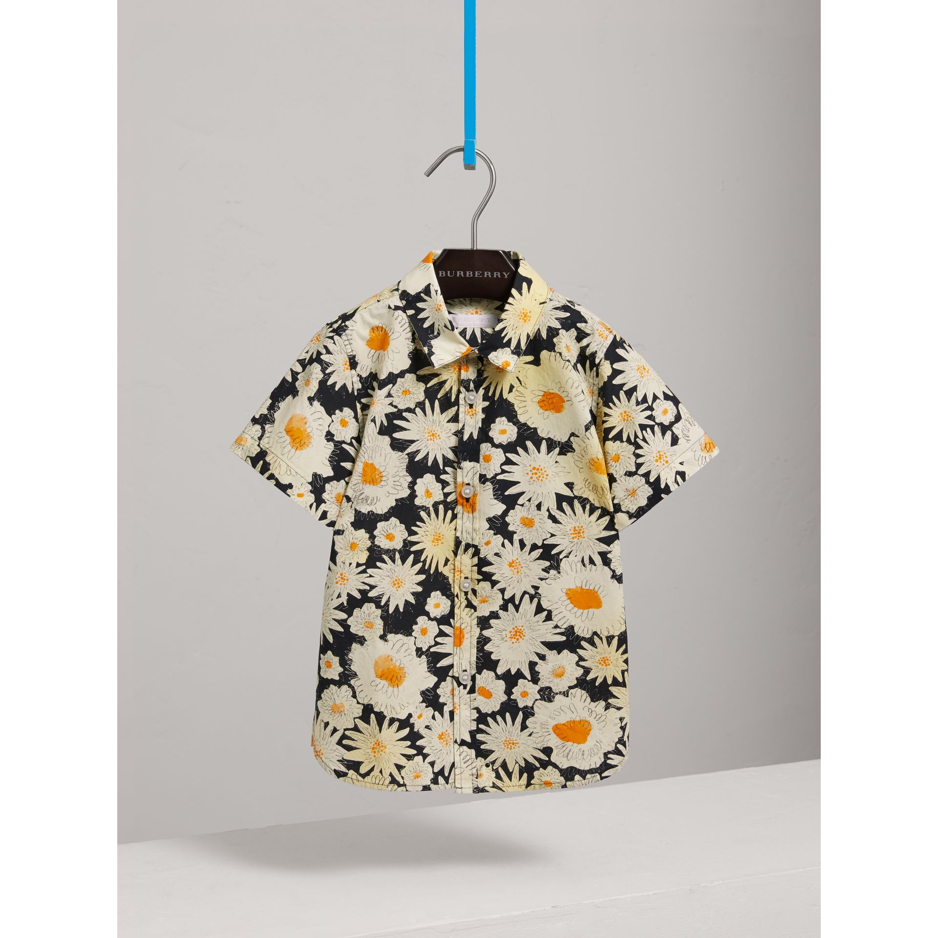 Short-sleeve Daisy Print Shirt in Black - Boy | Burberry United Kingdom - gallery image 0