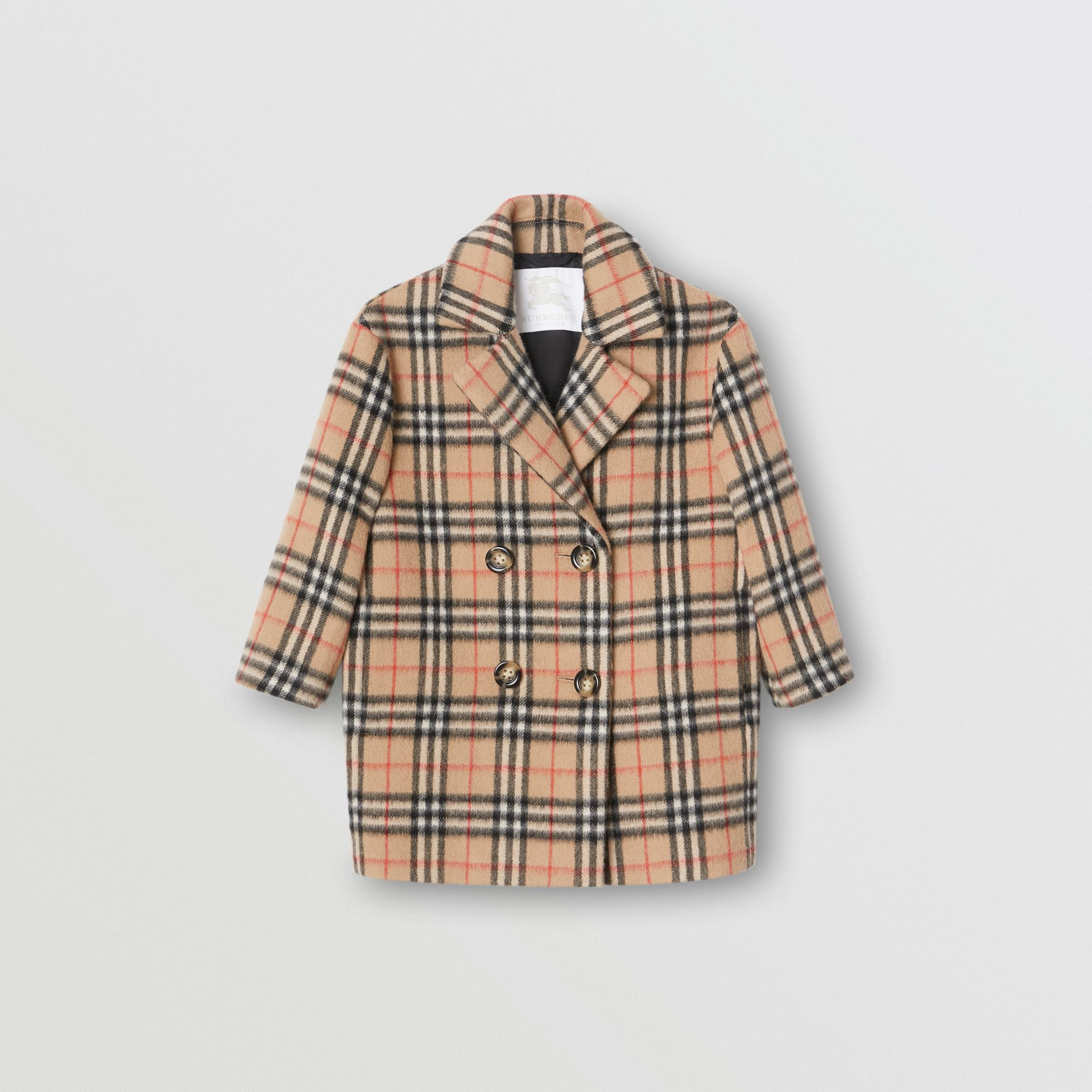 Vintage Check Alpaca Wool Blend Pea Coat in Archive Beige | Burberry United States - gallery image 0