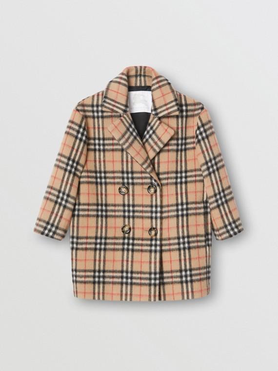 Vintage Check Alpaca Wool Blend Pea Coat in Archive Beige