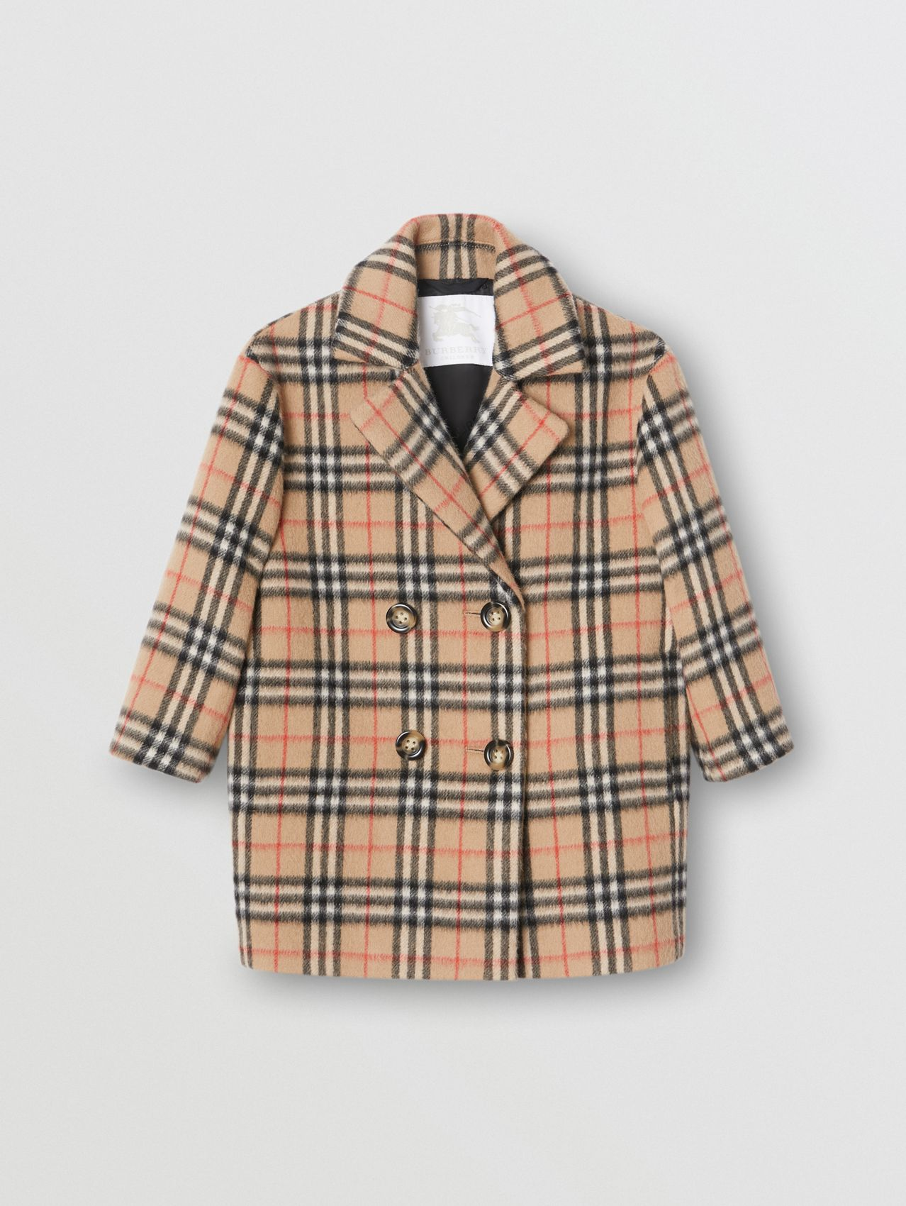 Vintage Check Alpaca Wool Blend Pea Coat in Archive Beige