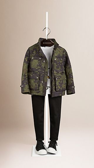 Camouflage Print Quilted Jacket