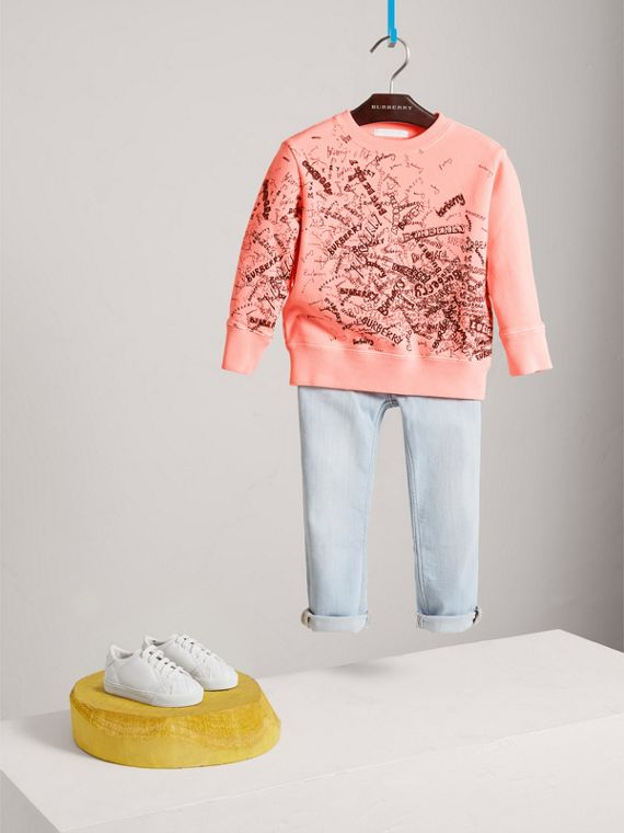 Doodle Print Cotton Sweatshirt in Bright Clementine