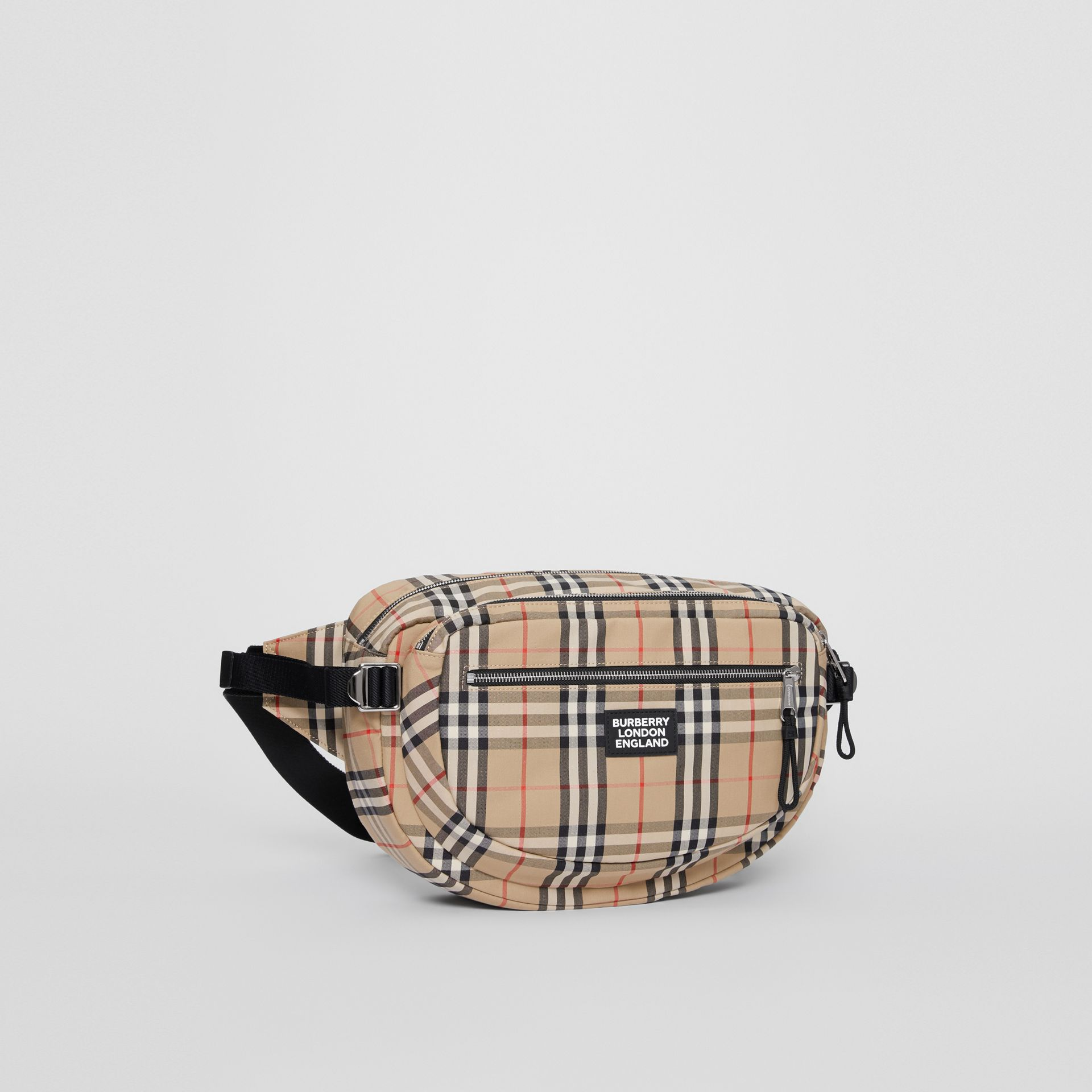 Large Vintage Check Cotton Cannon Bum Bag in Archive Beige | Burberry - gallery image 5
