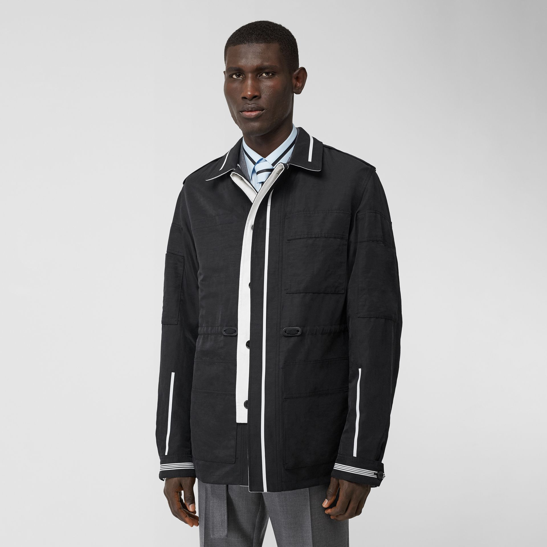 Reversible Striped Technical Linen Field Jacket in Black | Burberry - gallery image 7
